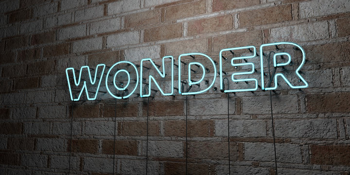 WONDER - Glowing Neon Sign on stonework wall - 3D rendered royalty free stock illustration.  Can be used for online banner ads and direct mailers..