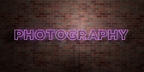 PHOTOGRAPHY - fluorescent Neon tube Sign on brickwork - Front view - 3D rendered royalty free stock picture. Can be used for online banner ads and direct mailers..