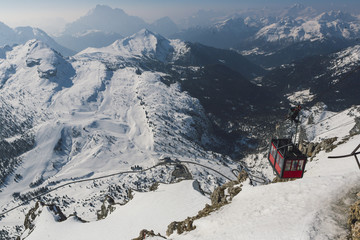 Overhead Cable Car seen from Lagazuoi,  Hidden valley, Dolomites, South Tyrol, Italy