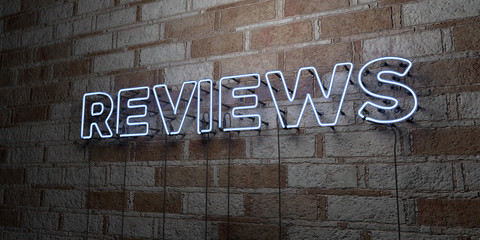 REVIEWS - Glowing Neon Sign on stonework wall - 3D rendered royalty free stock illustration.  Can be used for online banner ads and direct mailers..