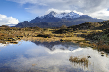 View of the Black Cuillin mountain Sgurr nan Gillean, Glen Sligachan, Isle of Skye, Scotland, United Kingdom, Europe