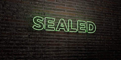 SEALED -Realistic Neon Sign on Brick Wall background - 3D rendered royalty free stock image. Can be used for online banner ads and direct mailers..