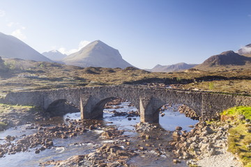 The Cuillin Hills from Sligachan on the Isle of Skye, Inner Hebrides, Scotland, United Kingdom, Europe