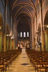 The nave of Eglise de Saint Germain des Pres in Paris, France, Europe