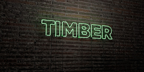 TIMBER -Realistic Neon Sign on Brick Wall background - 3D rendered royalty free stock image. Can be used for online banner ads and direct mailers..