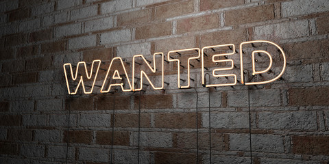WANTED - Glowing Neon Sign on stonework wall - 3D rendered royalty free stock illustration.  Can be used for online banner ads and direct mailers..