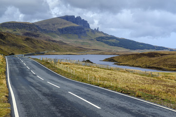 Road to Old Man of Storr mountain, Trotternish Peninsula, Isle of Skye, Inner Hebrides, Scotland, United Kingdom, Europe