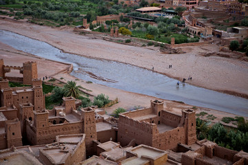 Lookink down on the Kasbah, Ait-Benhaddou, UNESCO World Heritage Site, Morocco, North Africa, Africa