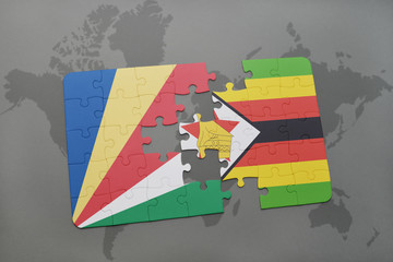puzzle with the national flag of seychelles and zimbabwe on a world map