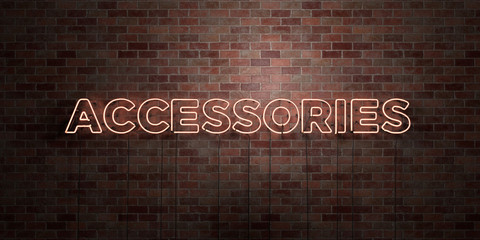 ACCESSORIES - fluorescent Neon tube Sign on brickwork - Front view - 3D rendered royalty free stock picture. Can be used for online banner ads and direct mailers..