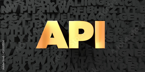 Api - Gold text on black background - 3D rendered royalty