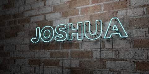 JOSHUA - Glowing Neon Sign on stonework wall - 3D rendered royalty free stock illustration.  Can be used for online banner ads and direct mailers..