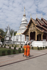 Young Buddhist Monks in Wat Phra Singh, Buddhist temple, Chiang Mai, Thailand, Southeast Asia, Asia