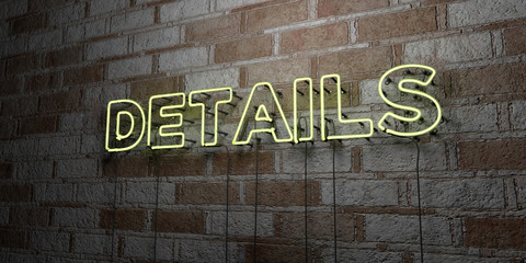 DETAILS - Glowing Neon Sign on stonework wall - 3D rendered royalty free stock illustration.  Can be used for online banner ads and direct mailers.. Wall mural