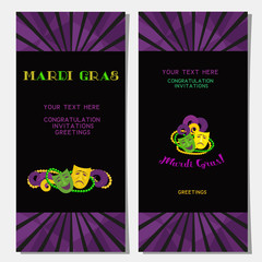 Mardi Gras celebration. Vertical banners set. Freehand cartoon fancy style. Masquerade traditional bead mask symbols. Template for carnival invitation greeting. Vector headline decoration background