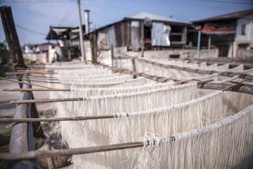 Noodles drying at a noodle factory in Hsipaw (Thibaw), Shan State, Myanmar (Burma), Asia