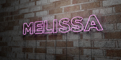 MELISSA - Glowing Neon Sign on stonework wall - 3D rendered royalty free stock illustration.  Can be used for online banner ads and direct mailers..