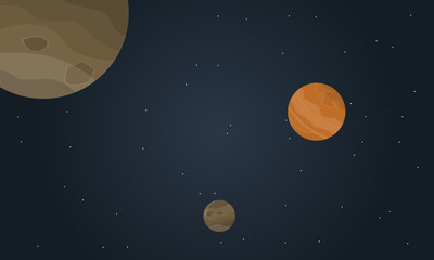 Vector art of space with planet landscape