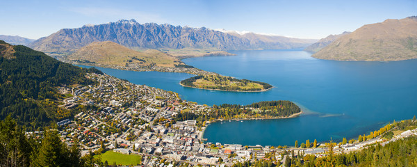Aerial view of Queenstown, Lake Wakatipu and the Remarkable mountains, Otago Region, South Island, New Zealand, Pacific