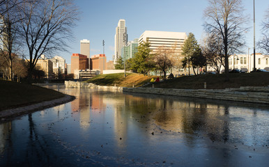 Omaha Nebraska Downtown City Skyline Missouri River