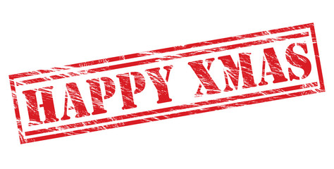 happy xmas vector red stamp on white background