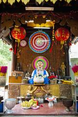 Neon Buddhist display in a Buddhist temple in Phnom Penh, Cambodia, Indochina, Southeast Asia, Asia