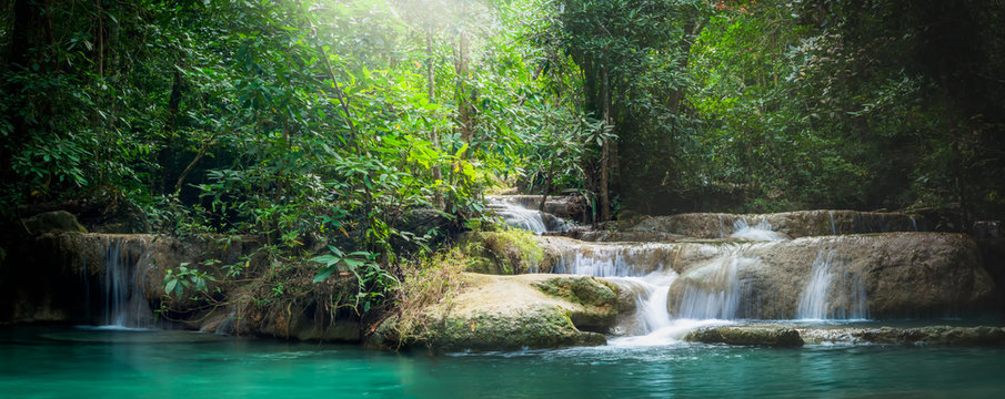 Panorama Erawan waterfall, the beautiful waterfall in forest at Erawan National Park - A beautiful waterfall on the River Kwai. Kanchanaburi, Thailand