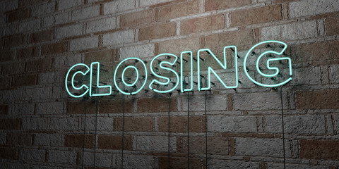 CLOSING - Glowing Neon Sign on stonework wall - 3D rendered royalty free stock illustration.  Can be used for online banner ads and direct mailers..