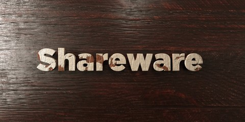 Shareware - grungy wooden headline on Maple  - 3D rendered royalty free stock image. This image can be used for an online website banner ad or a print postcard.