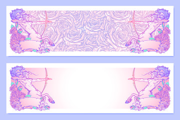 Horizontal banners with Zodiac Sagittarius and a decorative frame of roses. Astrology web element. Tattoo design. Sketch in pastel pallette isolated on pattern background. EPS10 vector illustration