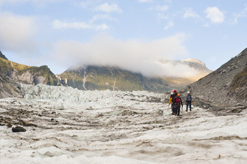 Tourists on an ice climbing trip, Fox Glacier, Westland National Park, UNESCO World Heritage Site, South Island, New Zealand, Pacific