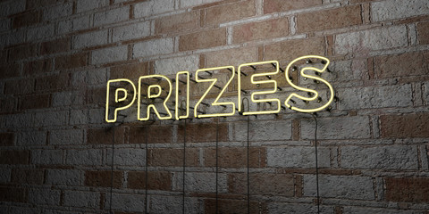 PRIZES - Glowing Neon Sign on stonework wall - 3D rendered royalty free stock illustration.  Can be used for online banner ads and direct mailers..