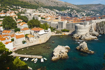 Dubrovnik Old Town and the City Walls, UNESCO World Heritage Site, from Fort Lovrijenac, Dubrovnik, Dalmatian Coast, Croatia, Europe
