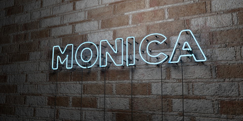 MONICA - Glowing Neon Sign on stonework wall - 3D rendered royalty free stock illustration.  Can be used for online banner ads and direct mailers.. Wall mural