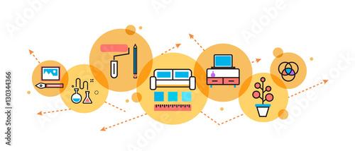 Flat Line Illustration Of Interior Design Process, Furniture, Painting,  Construction, Decoration For