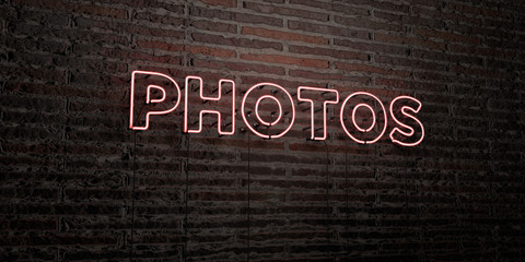 PHOTOS -Realistic Neon Sign on Brick Wall background - 3D rendered royalty free stock image. Can be used for online banner ads and direct mailers..