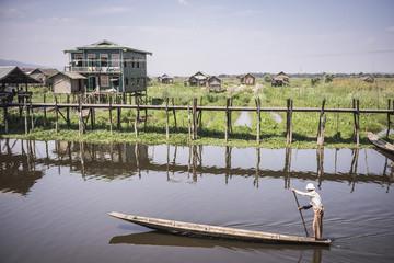Maing Thauk Bridge, over 1000 years old, at Inle Lake, Shan State, Myanmar (Burma), Asia