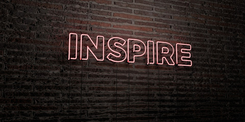 INSPIRE -Realistic Neon Sign on Brick Wall background - 3D rendered royalty free stock image. Can be used for online banner ads and direct mailers..