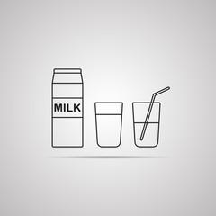 Векторная иллюстрация иконка простой символ плоский для веб milk молоко пакет стакан молока