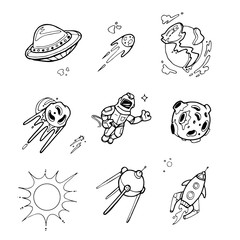 Planets, rockets, spaceships, ufo, stars, astronaut, alien vector set in sketch, doodle hand drawn style