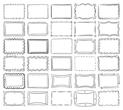 Simple doodle, sketch square vector frames