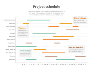 Project plan schedule chart with timeline, gantt progress vector graph