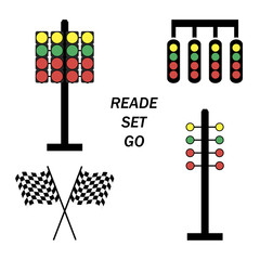 Set start line, racing starting lights system on white background