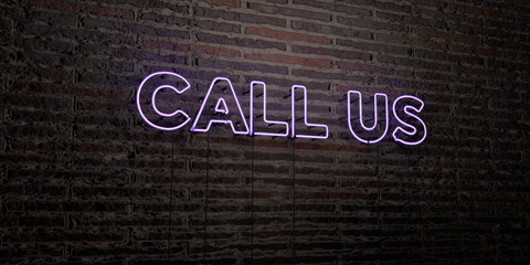 CALL US -Realistic Neon Sign on Brick Wall background - 3D rendered royalty free stock image. Can be used for online banner ads and direct mailers..