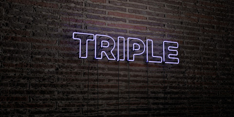 TRIPLE -Realistic Neon Sign on Brick Wall background - 3D rendered royalty free stock image. Can be used for online banner ads and direct mailers..
