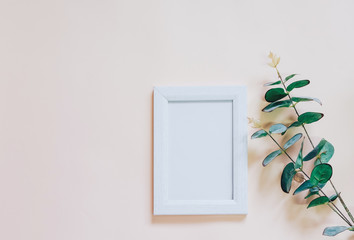 Mockup of blank photo frame with green plant on yellow backgroun