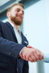 Happy businessman handshaking with client closing deal in an office interior with a window in the background..