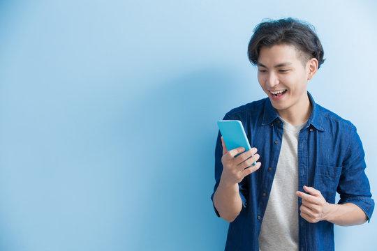 man student use phone