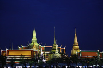 Wat pra kaew Public Temple Grand palace at night, Bangkok Thailand