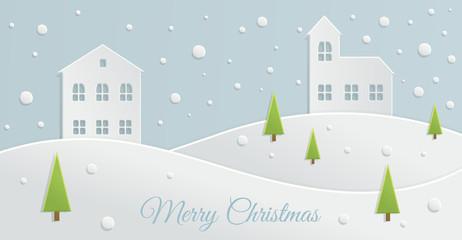 Paper Christmas landscape